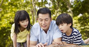 Father and children reading book together