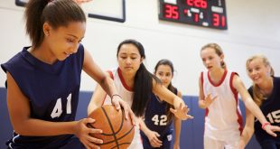 High school girls playing sport