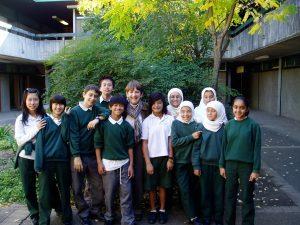 Dorothy Hoddinot with Holroyd High students