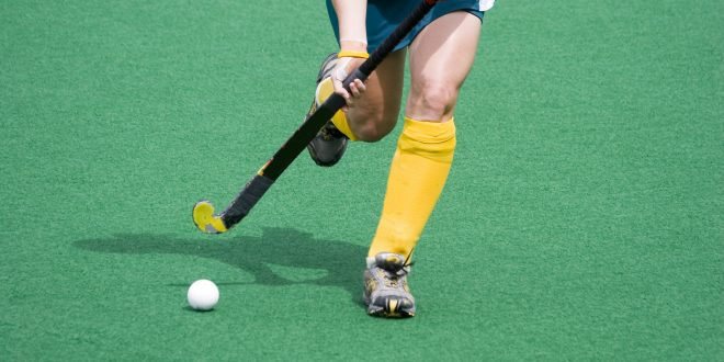 In synthetic fields designed for hockey, a shock-pads reduces ball bounce