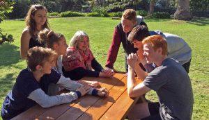 Principal, Marilyn Smith and students at Blackhall Kalimna