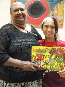 Cherbourg artist Venus Rabbitt supported her granddaughter Mirandah Bond-Blackman