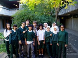Dorothy Hoddinot with Holroyd High students
