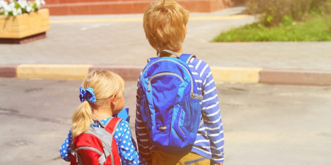 young child goes to school with brother