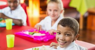 Children having healthy lunch during break time in school