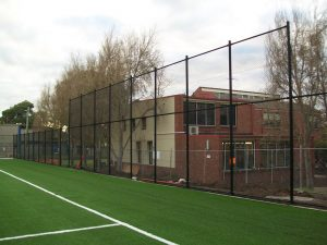 High screen chain link fence with black powder coating at Brighton Grammar. Photo: Lee Brothers Group Fencing