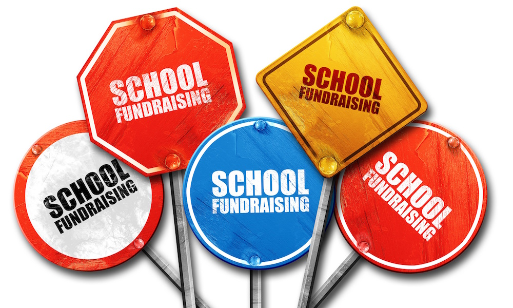 school fundraising, 3D rendering, street signs