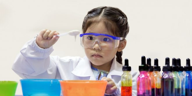 primary student learn chemical lab