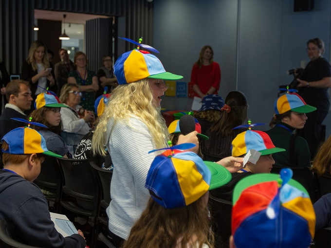Photo of Students quiz leaders about their future at GoogleHQ